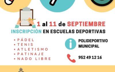 Inscripción en escuelas deportivas del 1 al 11 de septiembre.