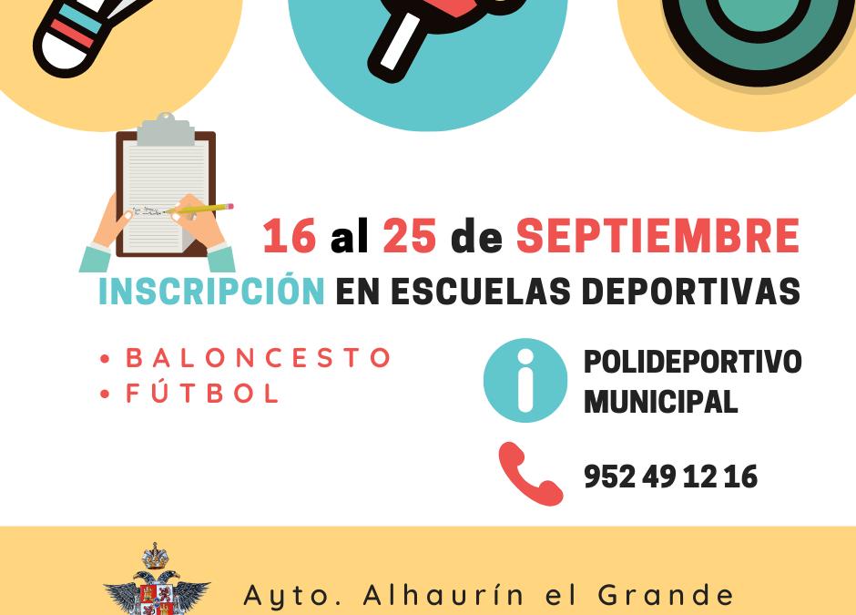 Comienza el plazo de inscripción para las escuelas deportivas de baloncesto y fútbol.