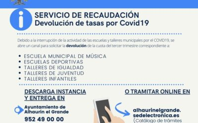 Alhaurín el Grande abre el plazo de devolución de las tasas del tercer trimestre de escuelas y talleres municipales suspendidos por el Covid19