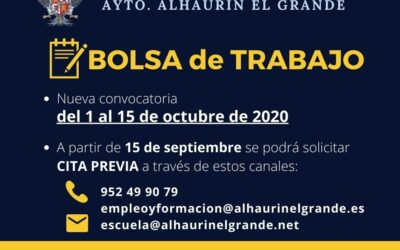 La Bolsa de Trabajo del Ayuntamiento se abrirá el 1 de octubre