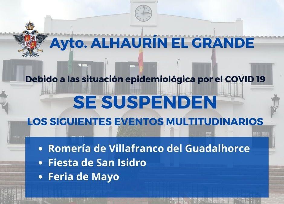 El Ayuntamiento de Alhaurín el Grande suspende oficialmente los eventos multitudinarios del mes de mayo, entre ellos la Feria de Mayo
